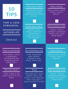 10 Tips for a less stressful author life PRINTABLE